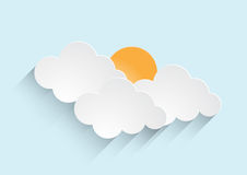 Sun rising with clouds vector Stock Photo