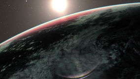 Sun rising from earth animation stock video footage