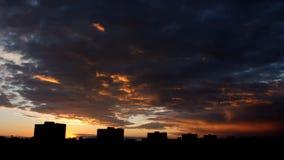 Sun rising in modern city stock video footage