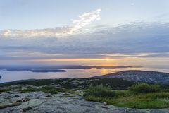 Sun rising over Gulf of Maine Royalty Free Stock Photography