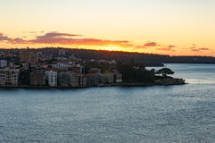Sun rising over Kirribilli suburb of Sydney Royalty Free Stock Photos