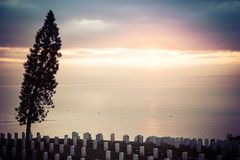 Sunrise over a National Cemetery royalty free stock photo
