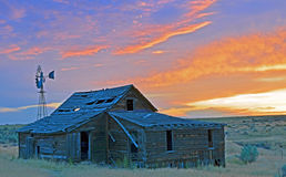 Sun Rising Over A Old Oregon Homestead Stock Photography