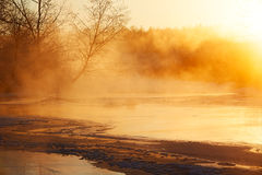 The sun rising in river Stock Images