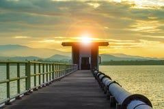 Sun rising sky at bangkpra  water reservoir lake chonburi easter Royalty Free Stock Image