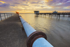 Sun rising sky at bangphra reservoir and waterwork station in ch Royalty Free Stock Photos