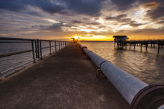 Sun rising sky at bangphra reservoir and waterwork station in ch Royalty Free Stock Image