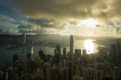 Sun Rising Victoria Harbor Hongkong Royalty Free Stock Images