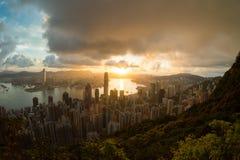 Sun rising victoria harbor Hongkong Stock Image
