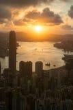 Sun rising victoria Hongkong Royalty Free Stock Photo
