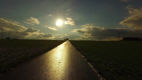 The sun and the road in field. Video stock video