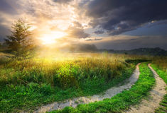 Sun and road Stock Photography