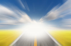 Sun and road with speed motion blur Stock Photo