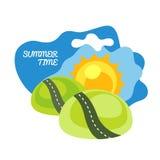 Sun road vector illustration. No gradient Royalty Free Stock Image