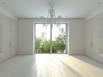 Sun room. White modern chandelier in a white sunny  room Royalty Free Stock Photo