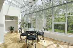 Sun room with ceiling windows Stock Photo