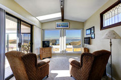 Sun room interior with exit to walkout deck Royalty Free Stock Photo