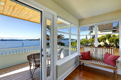 Sun room and walkout deck. American architecture. Real estate wi Royalty Free Stock Photography