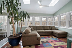 Sun room with wall of windows Royalty Free Stock Photos