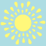 Sun round icon. Yellow rays of light. Cute cartoon shining object. Hello summer. Blue background. Flat design Stock Photography