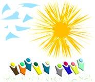 Sun s'allument, herbe verte, plus de dessin animé et clou bleu Image stock