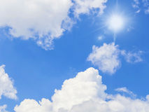 The sun's rays on blue sky. Royalty Free Stock Images