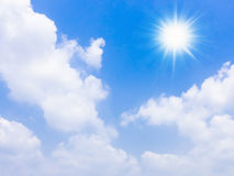 The sun's rays and  blue sky. Royalty Free Stock Photo