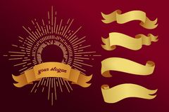 Golden ribbons on a red background. Vector illustration stock illustration