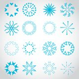 Sun's Rays Icons Set - Isolated On Gray Background Royalty Free Stock Images