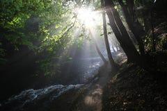 The sun`s rays illuminate the dark gorge stock photography