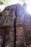 The sun`s rays illuminate the old stonework. Ancient ruins.  royalty free stock photos