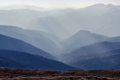 The sun's rays in the mountains at noon. Eastern Carpathians Stock Images