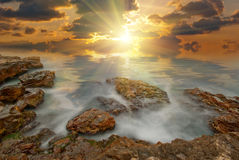 The sun's rays passing through the clouds Stock Photo