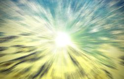 The sun`s rays through the sky to the earth the grace of sunligh royalty free stock photos