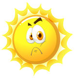 Sun with sad face Stock Image