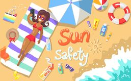 Sun Safety Poster Depicting Woman at Seaside. Sun safety poster with inscription depicting seaside. Vector illustration of woman lying on beach with various vector illustration