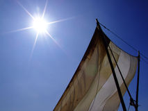 Sun and Sail. Sails on a small ship as seen from below when sun is rising Royalty Free Stock Images