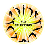 Sun Salutation. Illustration of yoga exercise Sun Salutation Surya Namaskara Stock Image