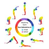 Sun salutation A, surya namaskar A sequence, watercolor painting Stock Image