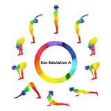 Sun salutation A, surya namaskar A sequence, watercolor painting Royalty Free Stock Images