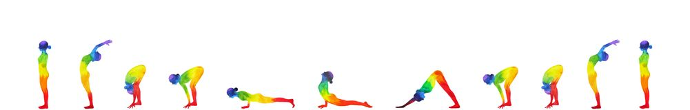 Sun salutation A, surya namaskar A sequence, watercolor painting Royalty Free Stock Photos