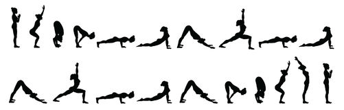 Sun salutation. Surya namaskara B. Yoga sequence. Stock Photo