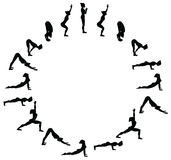 Sun salutation. Surya namaskara B. Yoga sequence. Stock Photography