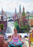 Sun Salutation (Surya Namaskara) in the centre of Moscow, Russia royalty free stock images