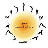 Sun Salutation. Surya Namaskara Royalty Free Stock Photo