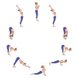 Sun salutation. Surya namaskara A. Yoga sequence. Royalty Free Stock Images