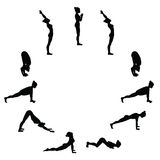 Sun salutation. Surya namaskara. Yoga sequence. Stock Photography
