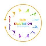 Sun salutation yoga asana. Hatha Yoga. Surya Namaskar. Vector illustration Stock Photo