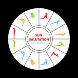 Sun salutation yoga asana. Sun Salutation Surya Namaskara. Vector illustration Royalty Free Stock Images