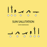 Sun salutation yoga exercises Stock Image